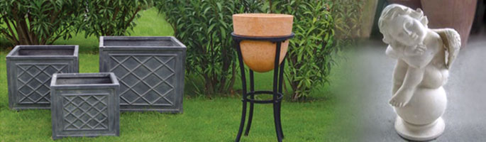Fibre-clay is a lightweight and long-lasting material, making it a perfect material for garden planters. Our range includes Fibre-clay pots (left, centre) and Fibre-clay statues (right)