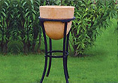 Terracota Pot with Black Metal Stand