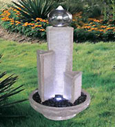 Water Fountain: Three Column with Stainless Steel Ball