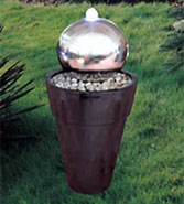 Water Fountain: Stainless Steel Ball on Pedestal